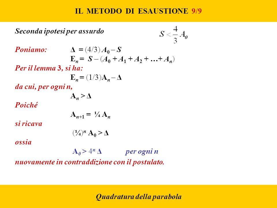 IL METODO DI ESAUSTIONE 9/9 Quadratura della parabola Seconda ipotesi per assurdo Poniamo: Δ = (4/3) A 0 S E n = S (A 0 + A 1 + A 2 + …+ A n ) Per il lemma 3, si ha: E n = (1/3)A n Δ da cui, per ogni n, A n > Δ Poiché A n+1 = ¼ A n si ricava (¼) n A 0 > Δ ossia A 0 > 4 n Δper ogni n nuovamente in contraddizione con il postulato.