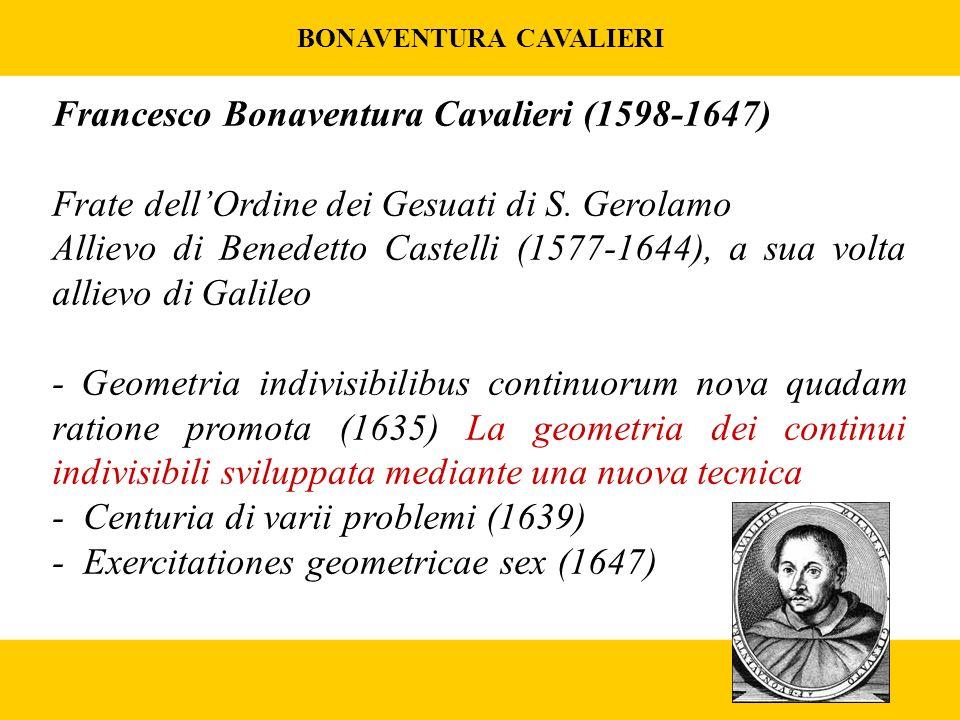 BONAVENTURA CAVALIERI Francesco Bonaventura Cavalieri (1598-1647) Frate dellOrdine dei Gesuati di S.