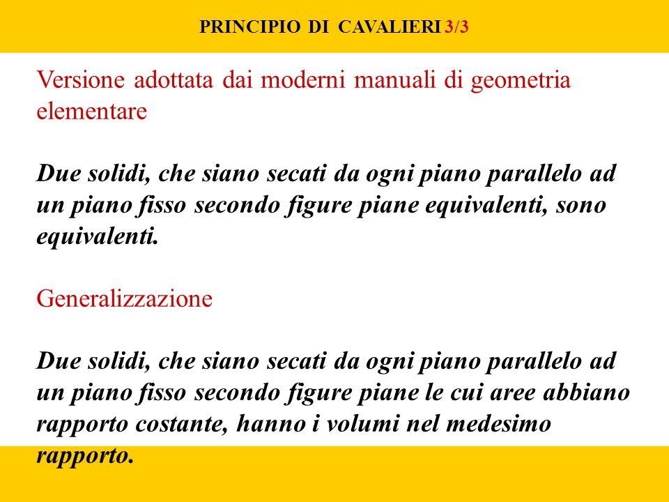 PRINCIPIO DI CAVALIERI 3/3 Versione adottata dai moderni manuali di geometria elementare Due solidi, che siano secati da ogni piano parallelo ad un piano fisso secondo figure piane equivalenti, sono equivalenti.