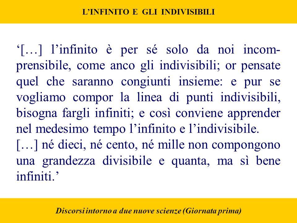 LINFINITO E GLI INDIVISIBILI Discorsi intorno a due nuove scienze (Giornata prima) […] linfinito è per sé solo da noi incom- prensibile, come anco gli indivisibili; or pensate quel che saranno congiunti insieme: e pur se vogliamo compor la linea di punti indivisibili, bisogna fargli infiniti; e così conviene apprender nel medesimo tempo linfinito e lindivisibile.