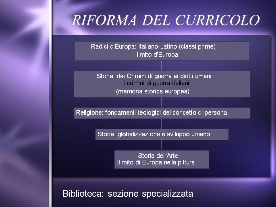 RIFORMA DEL CURRICOLO Biblioteca: sezione specializzata