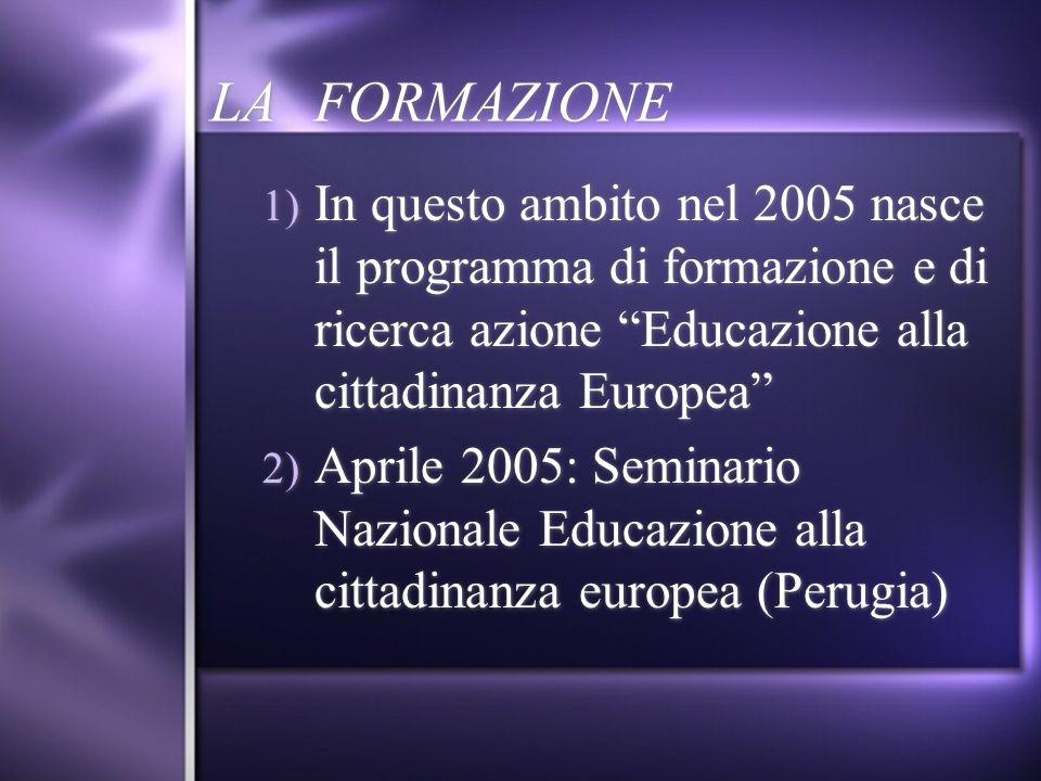 LA FORMAZIONE 1) In questo ambito nel 2005 nasce il programma di formazione e di ricerca azione Educazione alla cittadinanza Europea 2) Aprile 2005: S