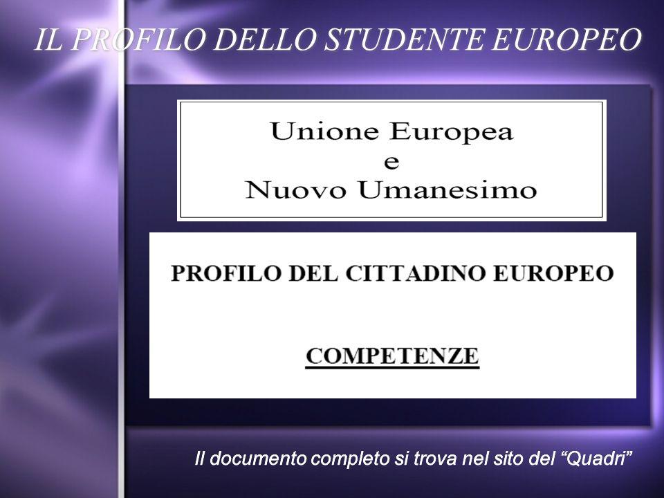 IL PROFILO DELLO STUDENTE EUROPEO Il documento completo si trova nel sito del Quadri