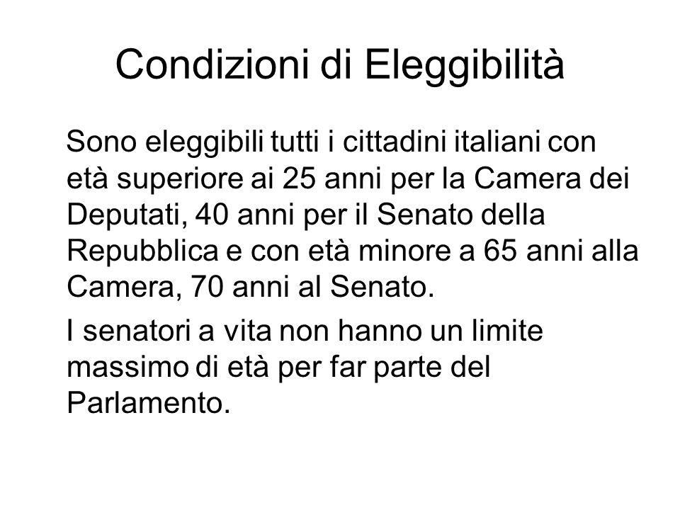 Condizioni di Eleggibilità Sono eleggibili tutti i cittadini italiani con età superiore ai 25 anni per la Camera dei Deputati, 40 anni per il Senato d