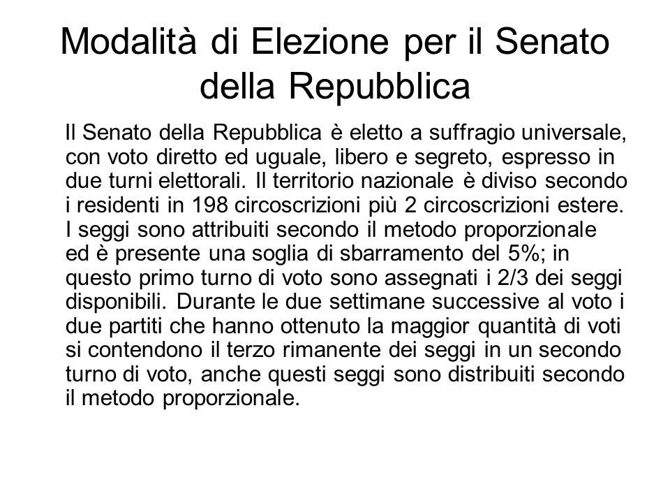 Modalità di Elezione per il Senato della Repubblica Il Senato della Repubblica è eletto a suffragio universale, con voto diretto ed uguale, libero e s