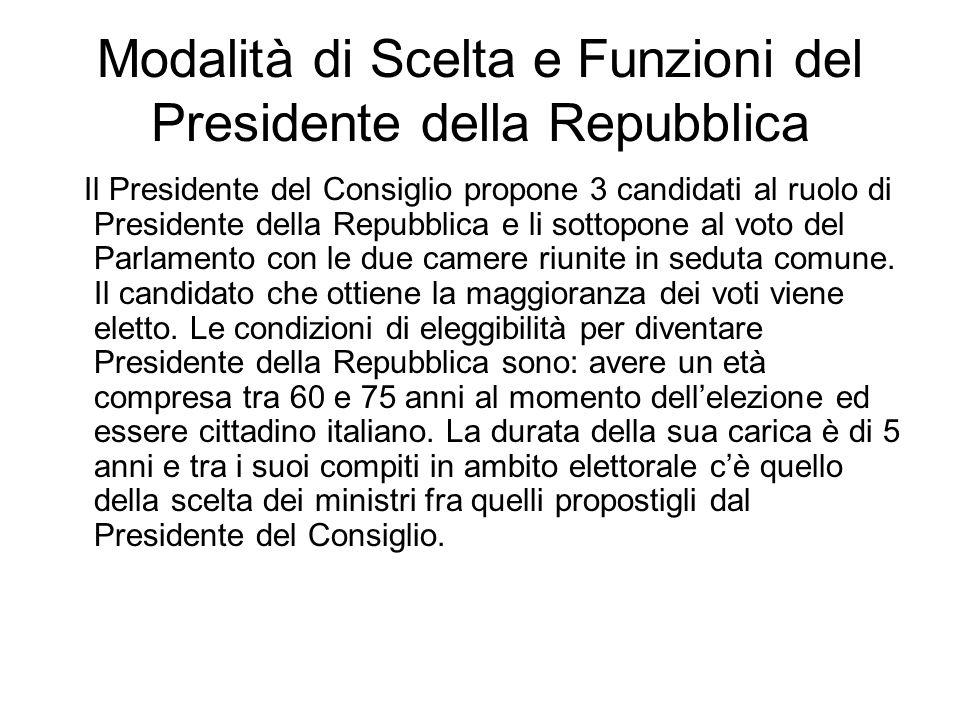 Modalità di Scelta e Funzioni del Presidente della Repubblica Il Presidente del Consiglio propone 3 candidati al ruolo di Presidente della Repubblica