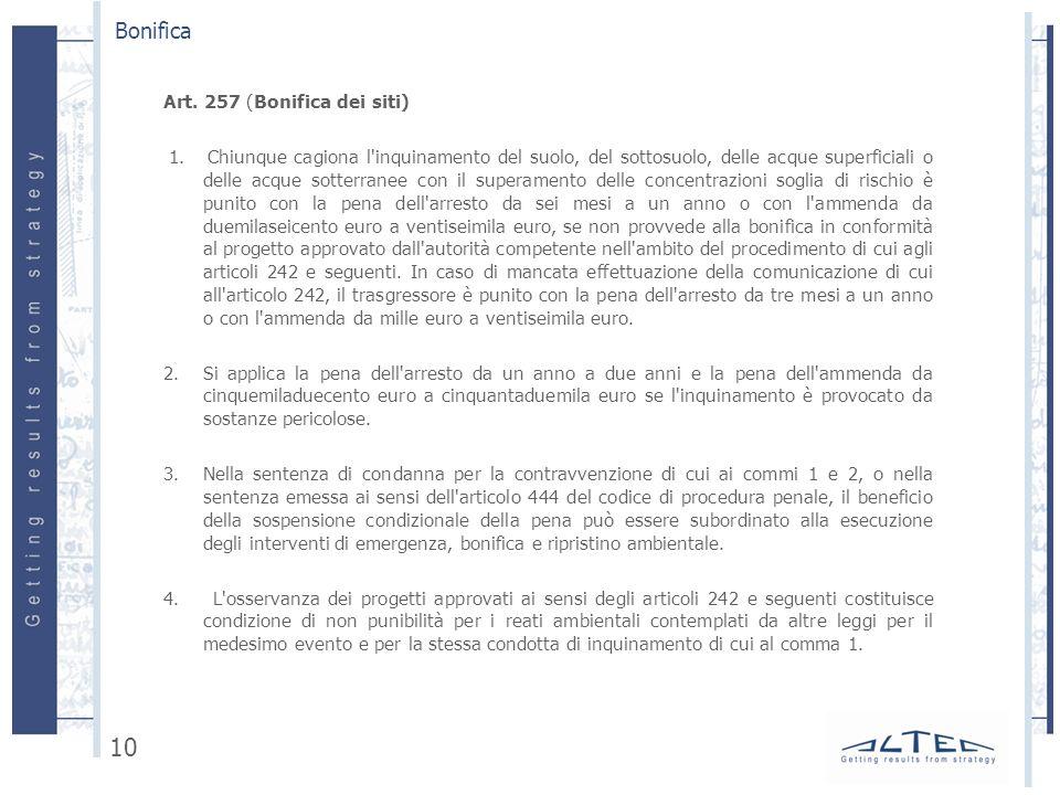 Art.257 (Bonifica dei siti) 1.