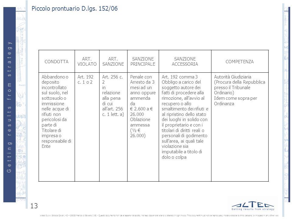Piccolo prontuario D.lgs.152/06 Altea S.p.A.