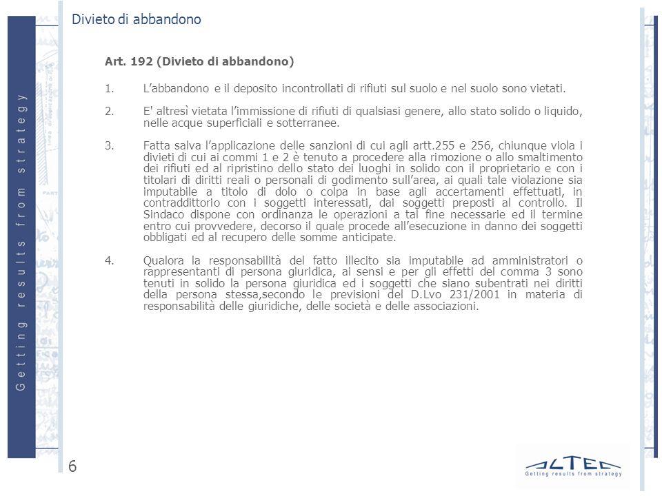 Art.255 (Abbandono di rifiuti) 1.