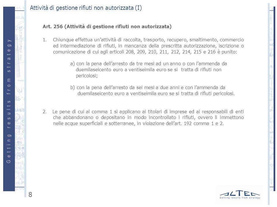 Art. 256 (Attività di gestione rifiuti non autorizzata) 1.Chiunque effettua unattività di raccolta, trasporto, recupero, smaltimento, commercio ed int
