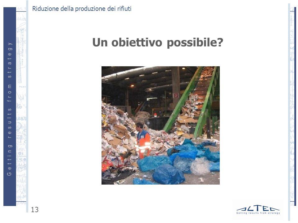 Un obiettivo possibile? Riduzione della produzione dei rifiuti 13