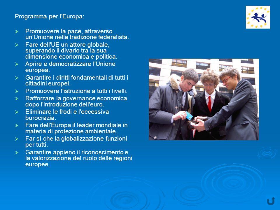Programma per l Europa: Promuovere la pace, attraverso un Unione nella tradizione federalista.