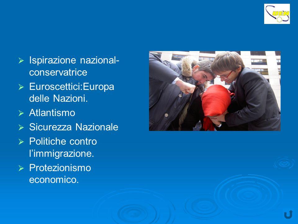 Ispirazione nazional- conservatrice Euroscettici:Europa delle Nazioni.