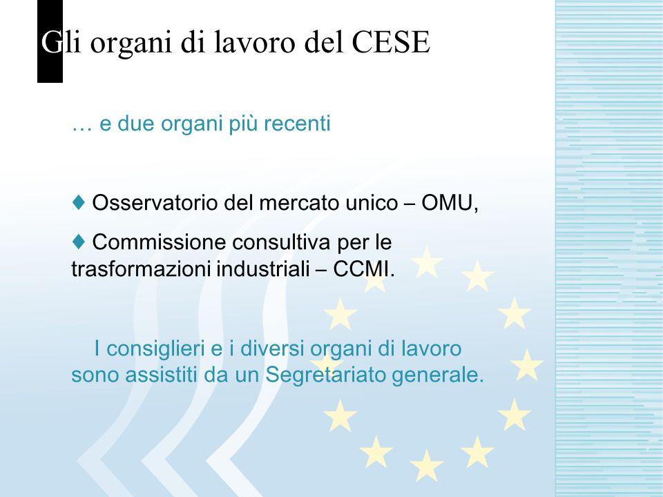 Gli organi di lavoro del CESE … e due organi più recenti Osservatorio del mercato unico – OMU, Commissione consultiva per le trasformazioni industriali – CCMI.