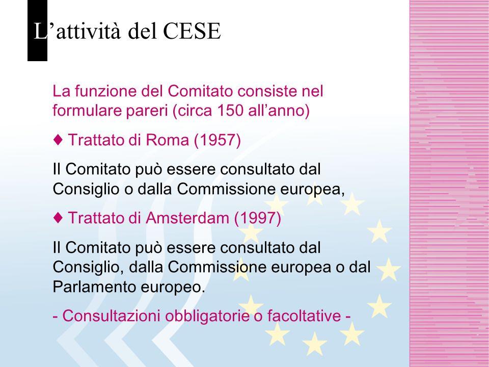 Lattività del CESE La funzione del Comitato consiste nel formulare pareri (circa 150 allanno) Trattato di Roma (1957) Il Comitato può essere consultato dal Consiglio o dalla Commissione europea, Trattato di Amsterdam (1997) Il Comitato può essere consultato dal Consiglio, dalla Commissione europea o dal Parlamento europeo.