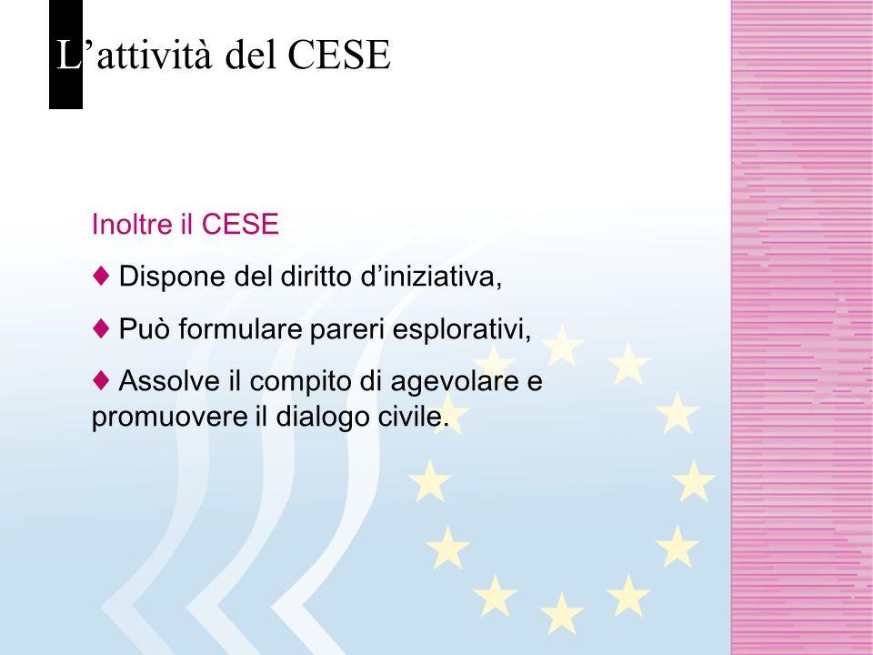 Lattività del CESE Inoltre il CESE Dispone del diritto diniziativa, Può formulare pareri esplorativi, Assolve il compito di agevolare e promuovere il dialogo civile.