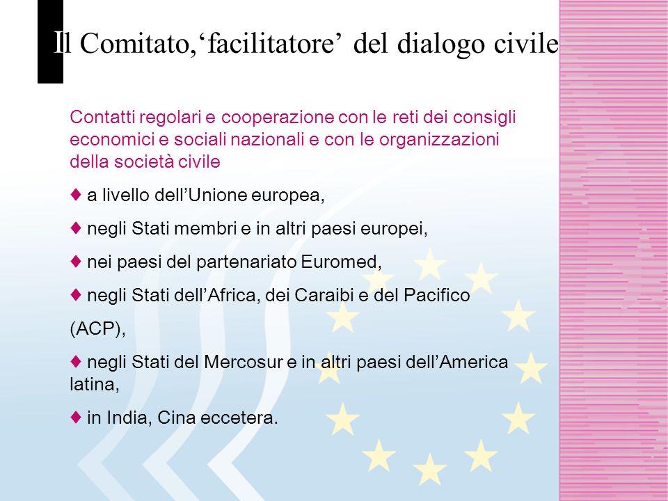 I l Comitato,facilitatore del dialogo civile Contatti regolari e cooperazione con le reti dei consigli economici e sociali nazionali e con le organizzazioni della società civile a livello dellUnione europea, negli Stati membri e in altri paesi europei, nei paesi del partenariato Euromed, negli Stati dellAfrica, dei Caraibi e del Pacifico (ACP), negli Stati del Mercosur e in altri paesi dellAmerica latina, in India, Cina eccetera.