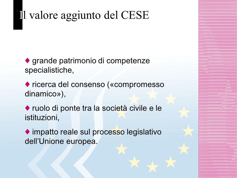 Il valore aggiunto del CESE grande patrimonio di competenze specialistiche, ricerca del consenso («compromesso dinamico»), ruolo di ponte tra la società civile e le istituzioni, impatto reale sul processo legislativo dellUnione europea.