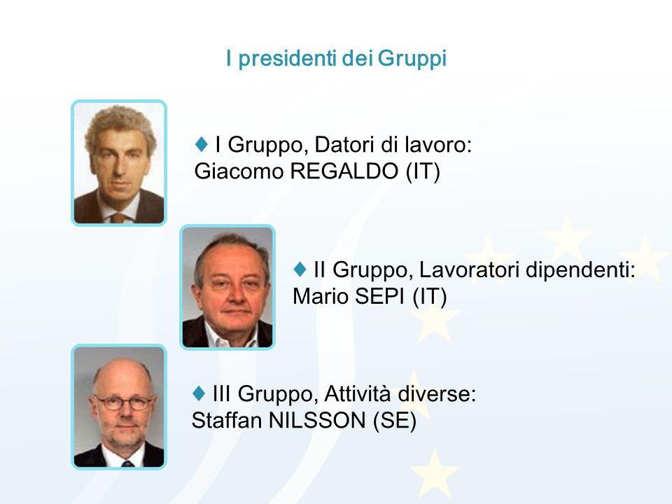 I presidenti dei Gruppi I Gruppo, Datori di lavoro: Giacomo REGALDO (IT) II Gruppo, Lavoratori dipendenti: Mario SEPI (IT) III Gruppo, Attività diverse: Staffan NILSSON (SE)
