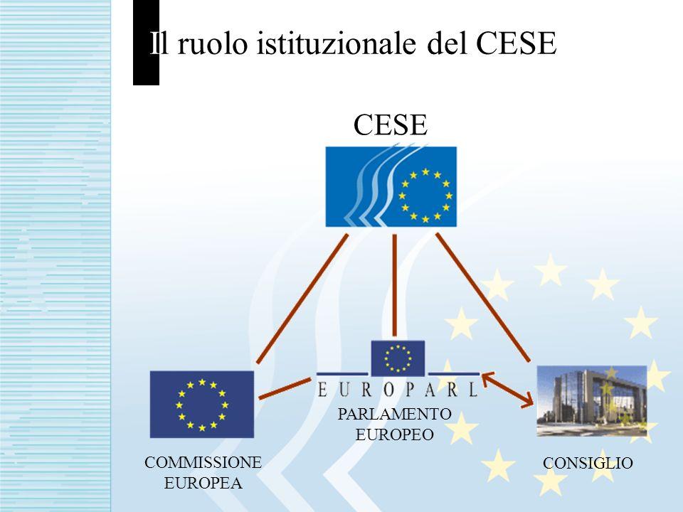 Il ruolo istituzionale del CESE CESE COMMISSIONE EUROPEA PARLAMENTO EUROPEO CONSIGLIO