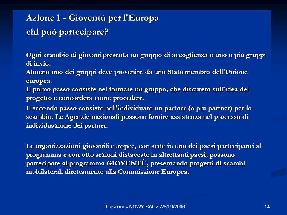 14L.Cascone - NOWY SACZ -28/09/2006 Azione 1 - Gioventù per l Europa chi può partecipare.
