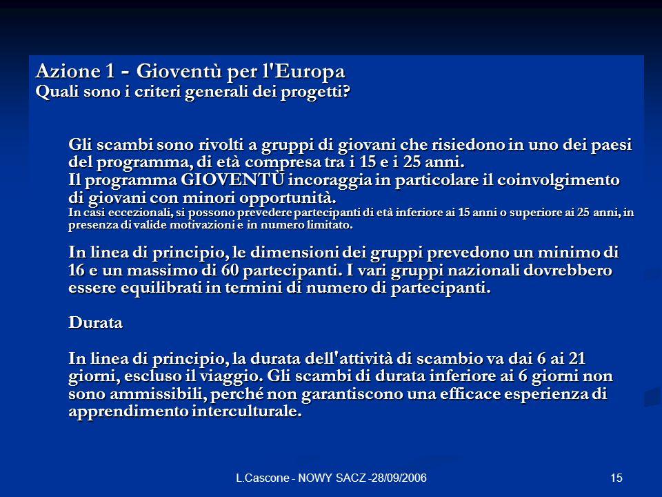 15L.Cascone - NOWY SACZ -28/09/2006 Azione 1 - Gioventù per l Europa Quali sono i criteri generali dei progetti.
