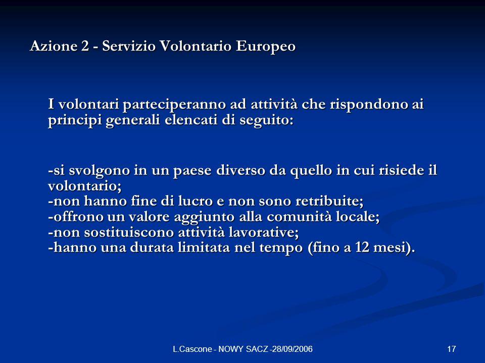 17L.Cascone - NOWY SACZ -28/09/2006 Azione 2 - Servizio Volontario Europeo I volontari parteciperanno ad attività che rispondono ai principi generali elencati di seguito: -si svolgono in un paese diverso da quello in cui risiede il volontario; -non hanno fine di lucro e non sono retribuite; -offrono un valore aggiunto alla comunità locale; -non sostituiscono attività lavorative; -hanno una durata limitata nel tempo (fino a 12 mesi).