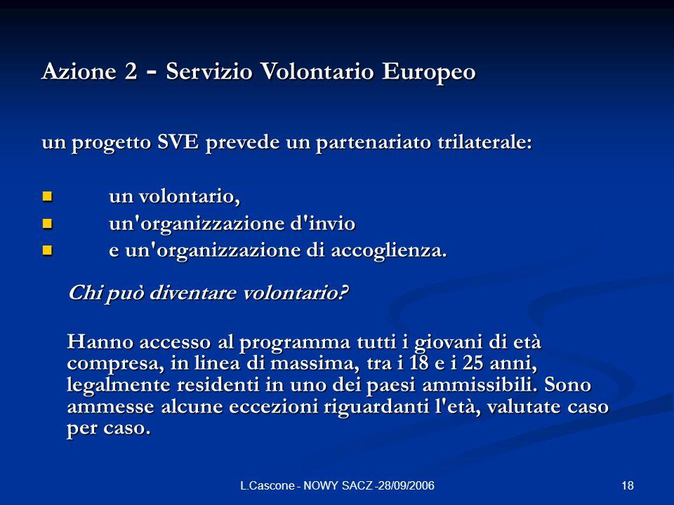 18L.Cascone - NOWY SACZ -28/09/2006 Azione 2 - Servizio Volontario Europeo un progetto SVE prevede un partenariato trilaterale: un volontario, un volontario, un organizzazione d invio un organizzazione d invio e un organizzazione di accoglienza.