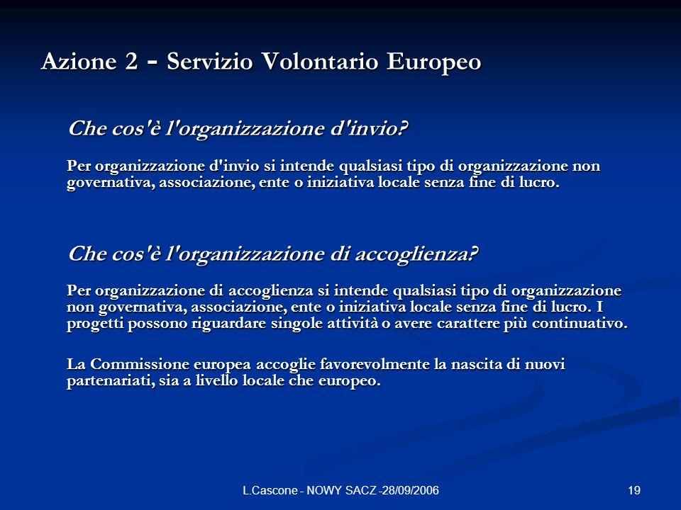 19L.Cascone - NOWY SACZ -28/09/2006 Azione 2 - Servizio Volontario Europeo Che cos è l organizzazione d invio.