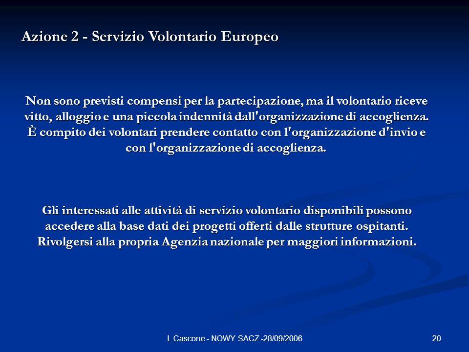 20L.Cascone - NOWY SACZ -28/09/2006 Azione 2 - Servizio Volontario Europeo Non sono previsti compensi per la partecipazione, ma il volontario riceve vitto, alloggio e una piccola indennità dall organizzazione di accoglienza.