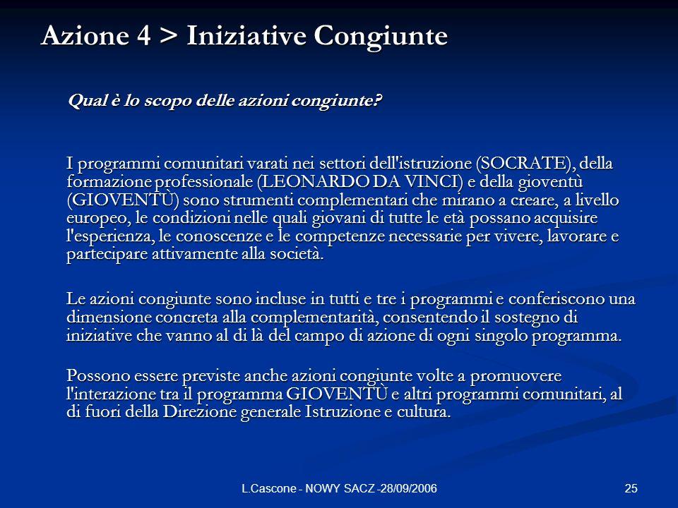 25L.Cascone - NOWY SACZ -28/09/2006 Azione 4 > Iniziative Congiunte Qual è lo scopo delle azioni congiunte.