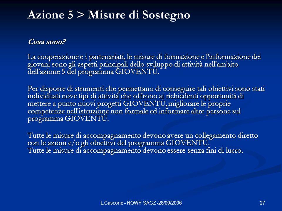 27L.Cascone - NOWY SACZ -28/09/2006 Azione 5 > Misure di Sostegno Cosa sono.