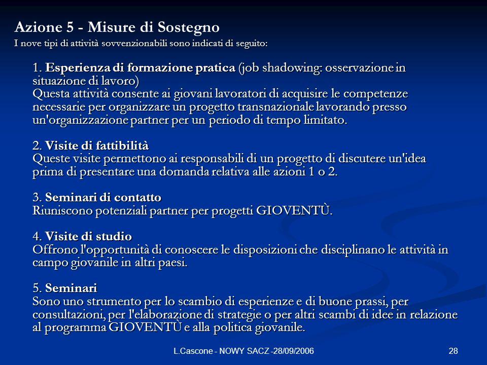 28L.Cascone - NOWY SACZ -28/09/2006 Azione 5 - Misure di Sostegno I nove tipi di attività sovvenzionabili sono indicati di seguito: 1.
