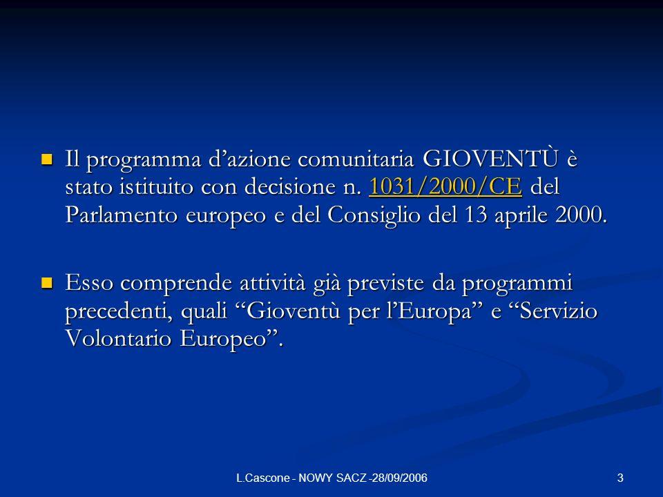 3L.Cascone - NOWY SACZ -28/09/2006 Il programma dazione comunitaria GIOVENTÙ è stato istituito con decisione n.