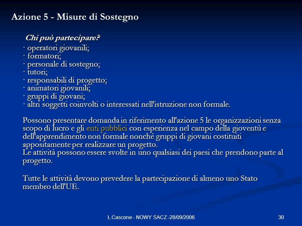 30L.Cascone - NOWY SACZ -28/09/2006 Azione 5 - Misure di Sostegno Chi può partecipare.