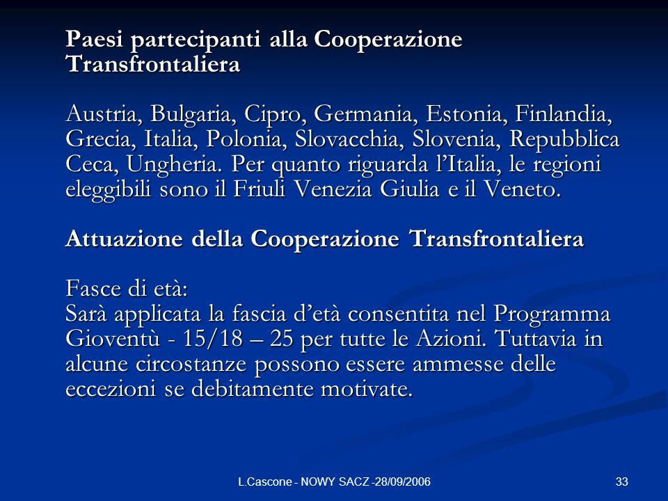 33L.Cascone - NOWY SACZ -28/09/2006 Paesi partecipanti alla Cooperazione Transfrontaliera Austria, Bulgaria, Cipro, Germania, Estonia, Finlandia, Grecia, Italia, Polonia, Slovacchia, Slovenia, Repubblica Ceca, Ungheria.