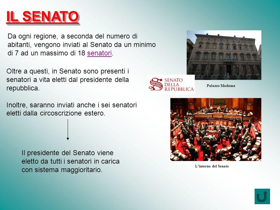 Da ogni regione, a seconda del numero di abitanti, vengono inviati al Senato da un minimo di 7 ad un massimo di 18 senatori.senatori Oltre a questi, in Senato sono presenti i senatori a vita eletti dal presidente della repubblica.