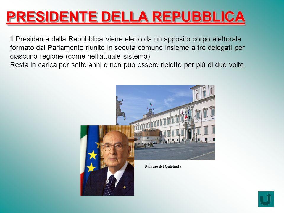 PRESIDENTE DELLA REPUBBLICA Il Presidente della Repubblica viene eletto da un apposito corpo elettorale formato dal Parlamento riunito in seduta comune insieme a tre delegati per ciascuna regione (come nellattuale sistema).
