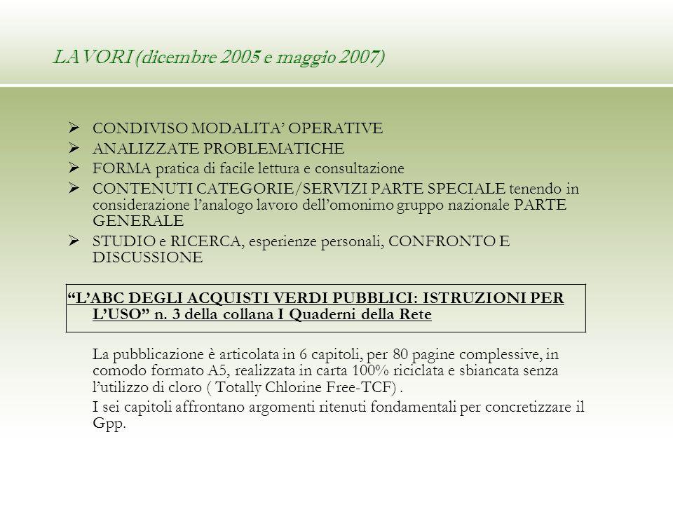 LAVORI (dicembre 2005 e maggio 2007) CONDIVISO MODALITA OPERATIVE ANALIZZATE PROBLEMATICHE FORMA pratica di facile lettura e consultazione CONTENUTI C