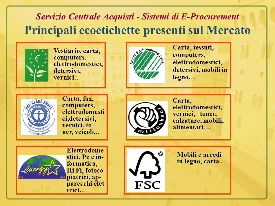 Servizio Centrale Acquisti - Sistemi di E-Procurement Principali ecoetichette presenti sul Mercato Vestiario, carta, computers, elettrodomestici, dete