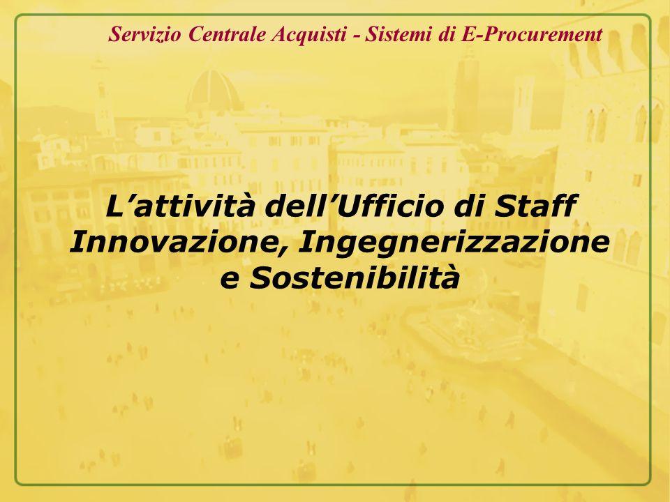Lattività dellUfficio di Staff Innovazione, Ingegnerizzazione e Sostenibilità Servizio Centrale Acquisti - Sistemi di E-Procurement