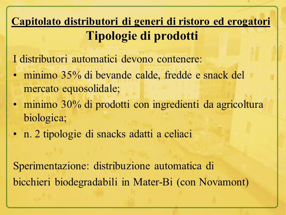 Capitolato distributori di generi di ristoro ed erogatori Tipologie di prodotti I distributori automatici devono contenere: minimo 35% di bevande cald