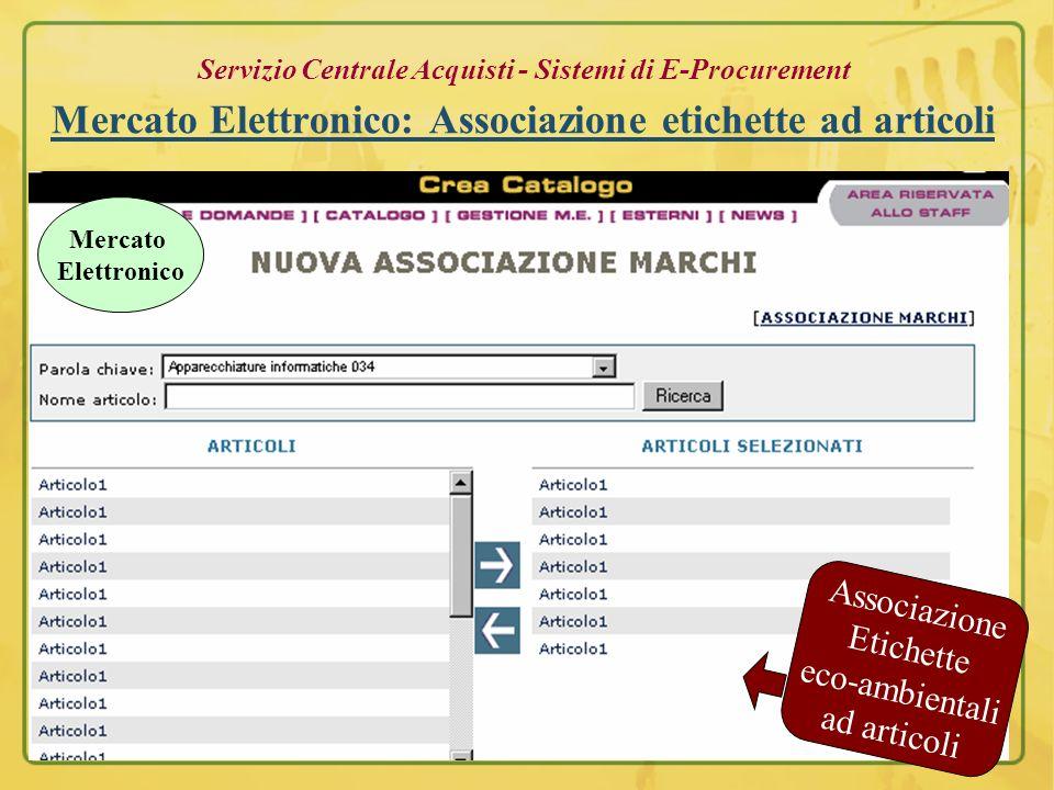 Servizio Centrale Acquisti - Sistemi di E-Procurement Ditte: inserimento prodotti eco-sostenibili Certificazioni Eco-sostenibili Mercato Elettronico