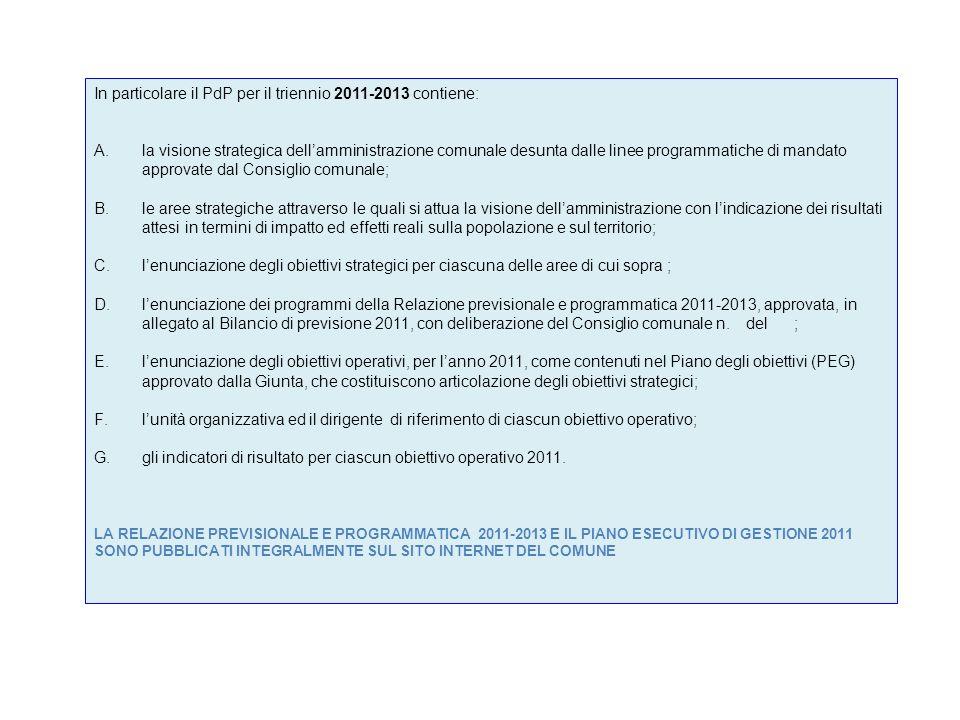 In particolare il PdP per il triennio 2011-2013 contiene: A.la visione strategica dellamministrazione comunale desunta dalle linee programmatiche di m
