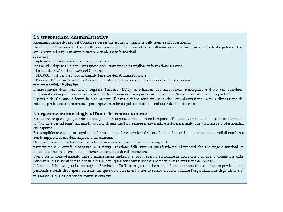 La trasparenza amministrativa Riorganizzazione del sito del Comune e dei servizi erogati in funzione delle norme sull'accessibilità; Creazione dellAna
