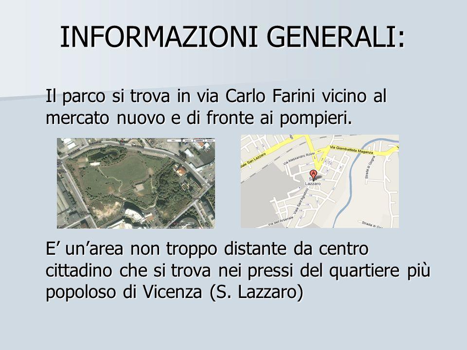 INFORMAZIONI GENERALI: Il parco si trova in via Carlo Farini vicino al mercato nuovo e di fronte ai pompieri. E unarea non troppo distante da centro c