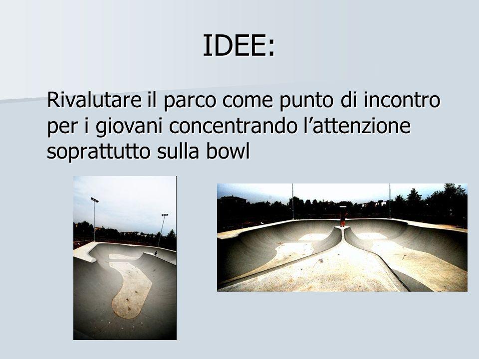 IDEE: Rivalutare il parco come punto di incontro per i giovani concentrando lattenzione soprattutto sulla bowl