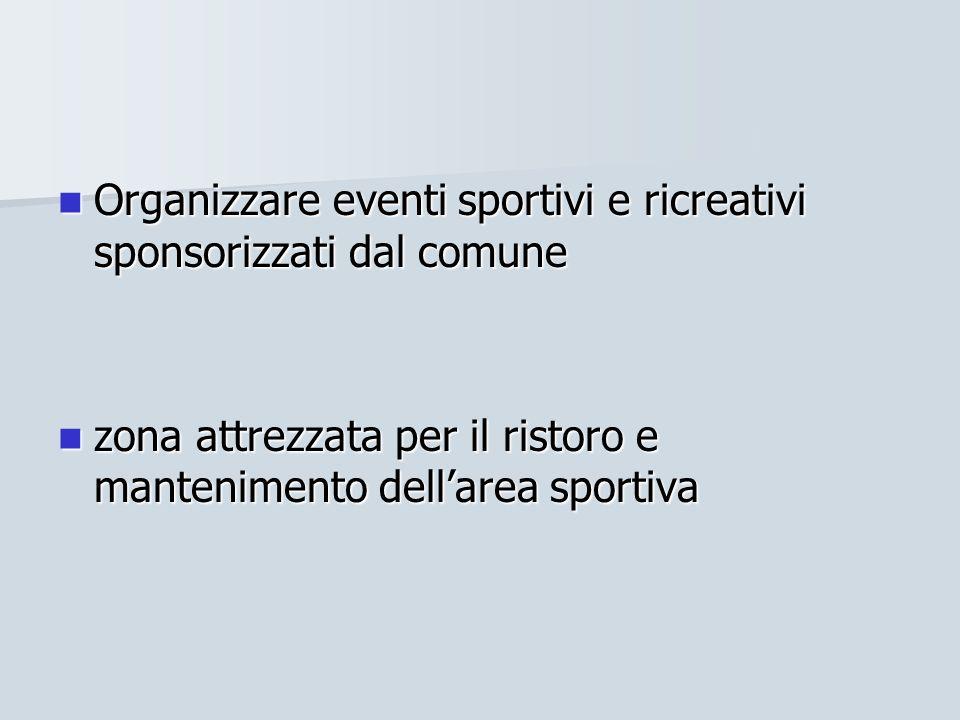 Organizzare eventi sportivi e ricreativi sponsorizzati dal comune Organizzare eventi sportivi e ricreativi sponsorizzati dal comune zona attrezzata pe