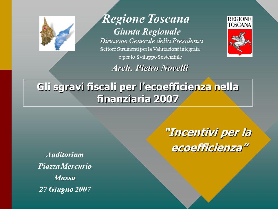 Auditorium Piazza Mercurio Massa 27 Giugno 2007 Incentivi per la ecoefficienza Regione Toscana Giunta Regionale Direzione Generale della Presidenza Settore Strumenti per la Valutazione integrata e per lo Sviluppo Sostenibile Arch.
