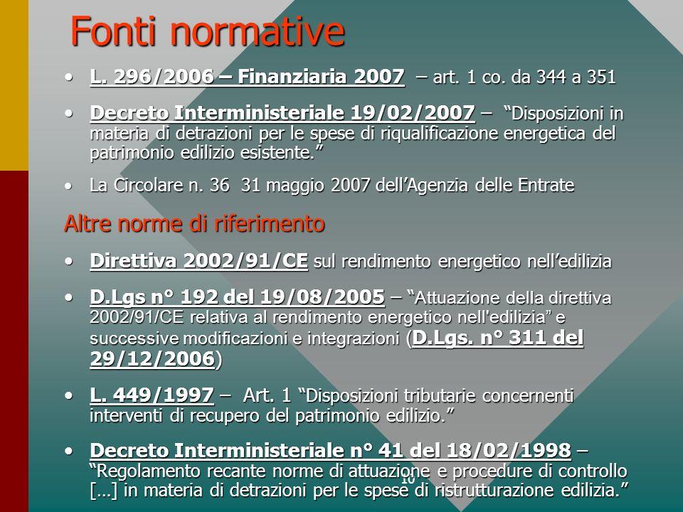 10 Fonti normative L. 296/2006 – Finanziaria 2007 – art. 1 co. da 344 a 351L. 296/2006 – Finanziaria 2007 – art. 1 co. da 344 a 351 Decreto Interminis
